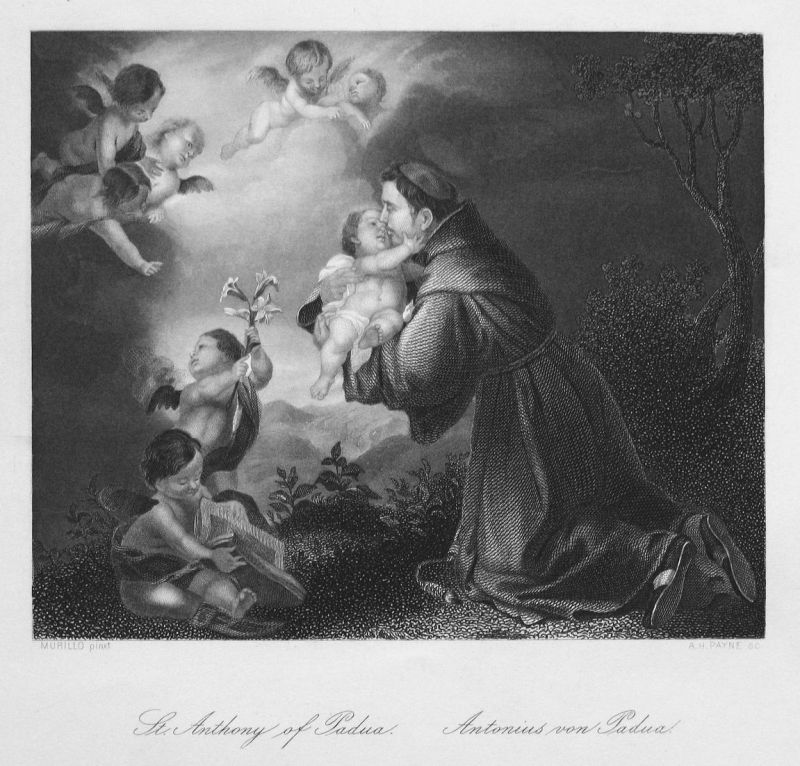 St. Anthony of Padua. / Antonius von Padua - Antonius von Padua Priester priest Engel angels Kind child Stahls