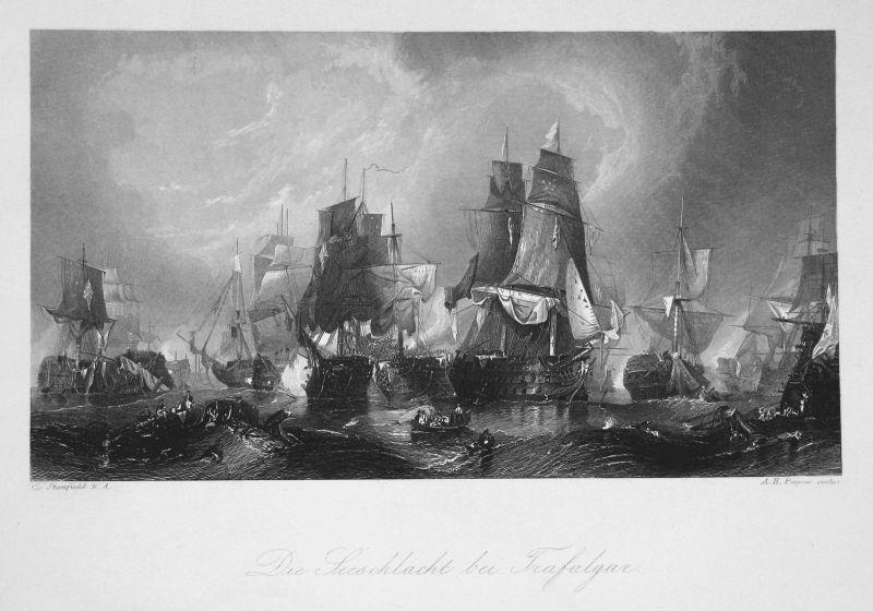 Die Seeschlacht bei Trafalgar - Trafalgar Spanien Espana Schlacht battle Schiffe Seefahrt Ansicht view Stahlst