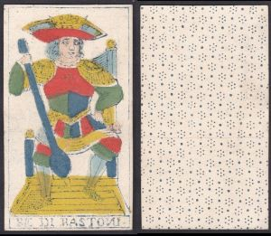 Be di Bastoni - Original 18th century playing card / carte a jouer / Spielkarte - Tarot