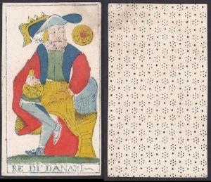 Re di Danari - Original 18th century playing card / carte a jouer / Spielkarte - Tarot