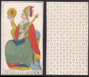 Regina di Danari - Original 18th century playing card / carte a jouer / Spielkarte - Tarot