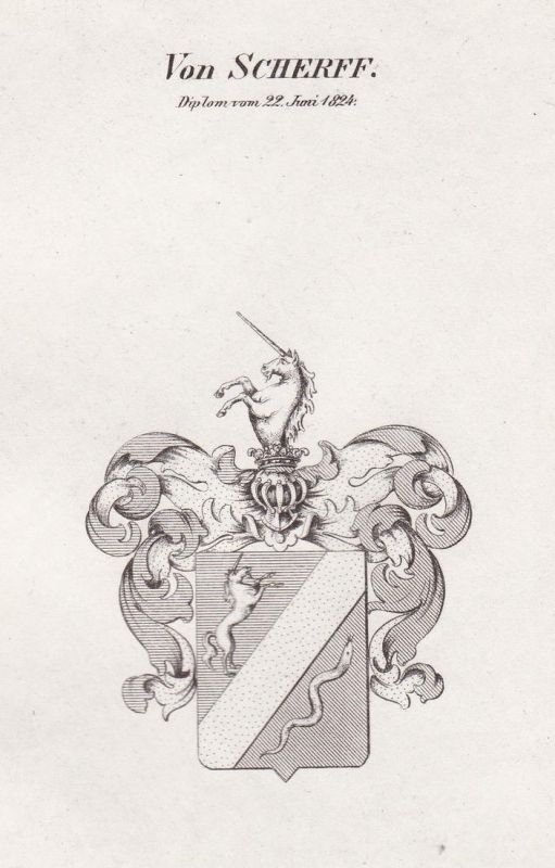 Von Scheriff. Diplom vom 22. Juni 1824 - Scheriff Wappen Adel coat of arms heraldry Heraldik Kupferstich antiq