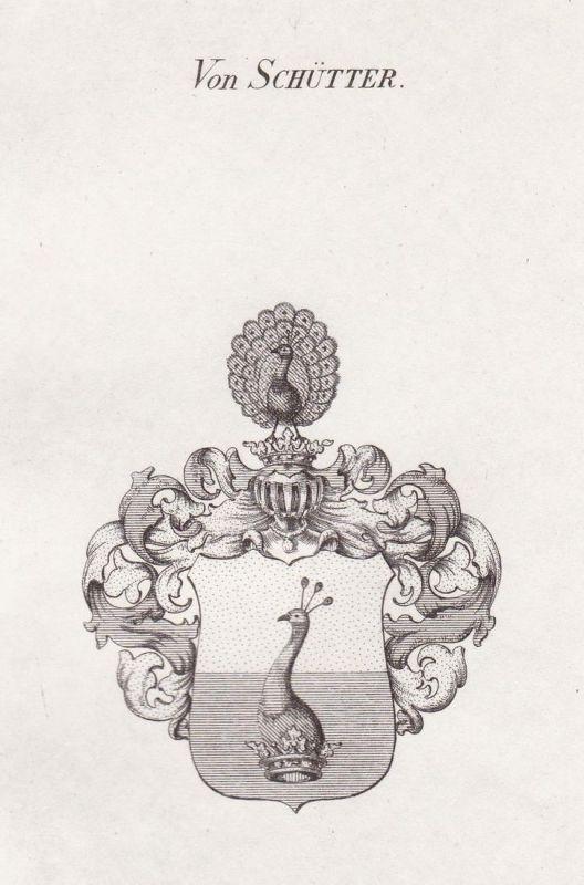 Von Schütter - Schütter Wappen Adel coat of arms heraldry Heraldik Kupferstich antique print