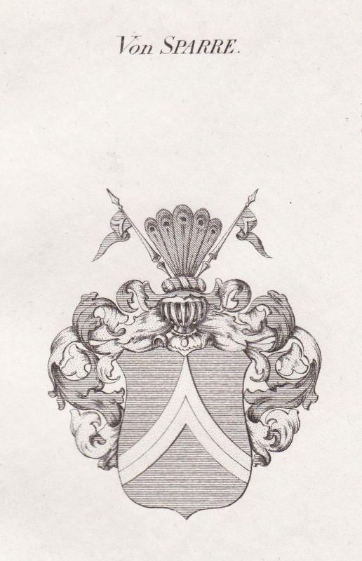 Von Sparre - Sparre Schweden Sweden Wappen Adel coat of arms heraldry Heraldik Kupferstich antique print
