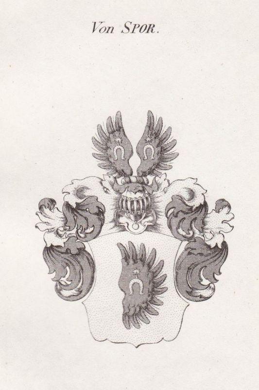 Von Spor - Spor Wappen Adel coat of arms heraldry Heraldik Kupferstich antique print