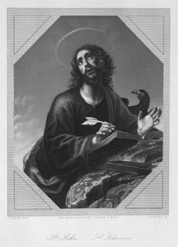 St. John / St. Johannes - St. Johannes Heiliger holy Portrait portrait Stahlstich steel engraving antique prin