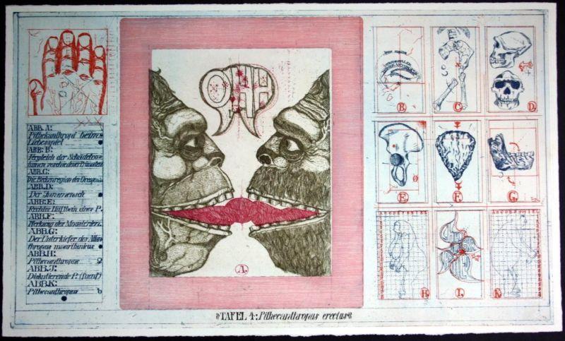 Uwe Bremer Original Radierung Mensch Tier Affe Monster Kuss Farbradierung