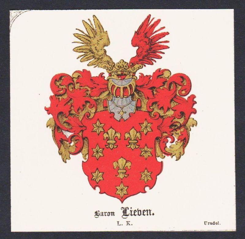 . von Lieben Wappen Heraldik coat of arms heraldry Lithographie