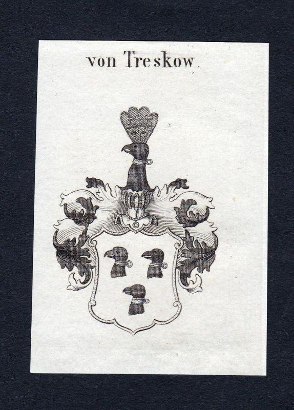Von Treskow - Treskow Wappen Adel coat of arms heraldry Heraldik Kupferstich engraving