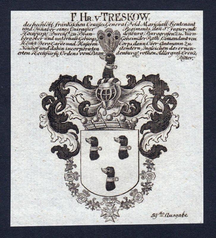 F. Hn. v. Treskow - Treskow Mark Brandenburg Wappen Adel coat of arms Kupferstich antique print heraldry Heral