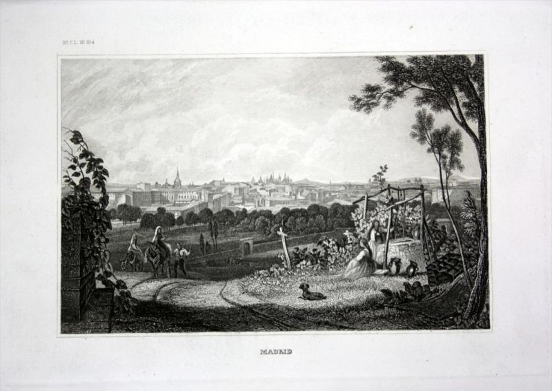 Madrid Spanien Spain Espana Ansicht view Stahlstich engraving