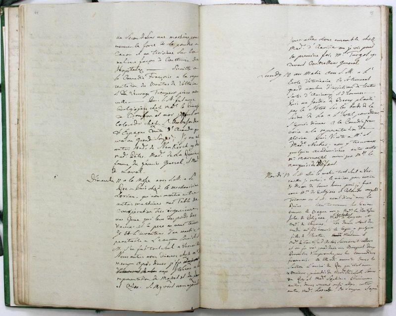 Journal de mon voyage en France avec l'Empereur Joseph en 1777. Manuscript. Handschrift. 2