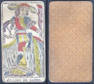 Cavalier de Baton - Original 18th century playing card / carte a jouer / Spielkarte - Tarot