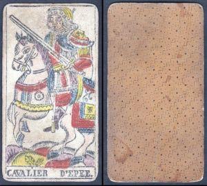 Cavalier d'Epee - Original 18th century playing card / carte a jouer / Spielkarte - Tarot