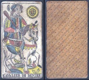 Cavalier de Denier - Original 18th century playing card / carte a jouer / Spielkarte - Tarot
