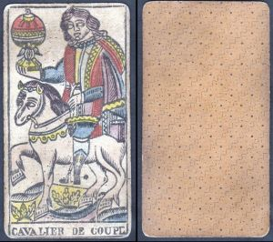 Cavalier de Coupe - Original 18th century playing card / carte a jouer / Spielkarte - Tarot