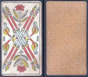 IIII - Original 18th century playing card / carte a jouer / Spielkarte - Tarot