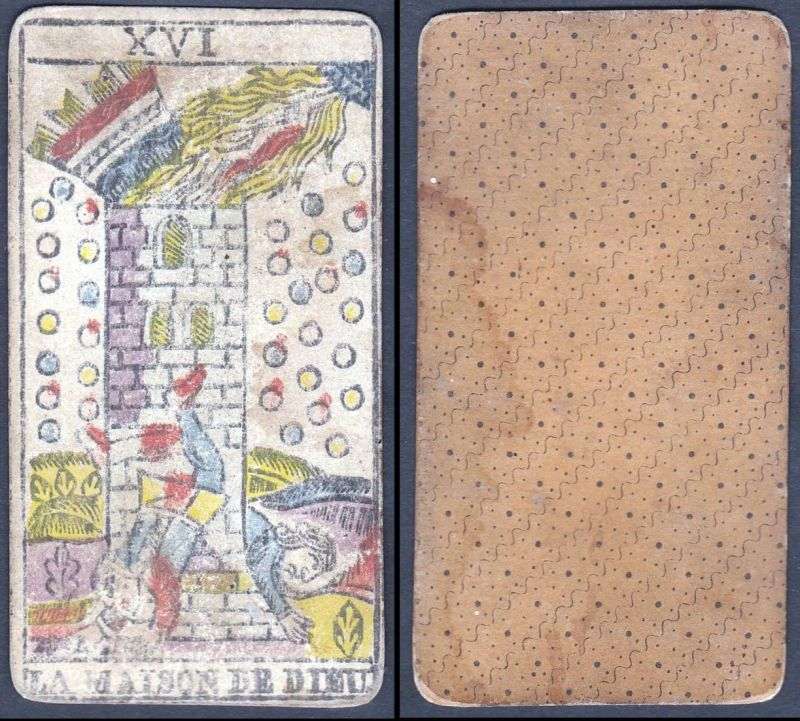 La Maison de Dieu - Original 18th century playing card / carte a jouer / Spielkarte - Tarot