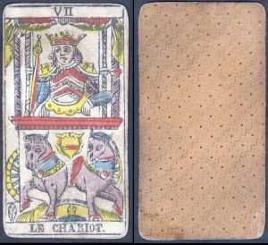 Le Chariot - Original 18th century playing card / carte a jouer / Spielkarte - Tarot