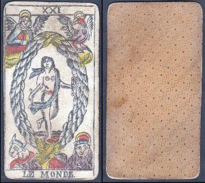 Le Monde - Original 18th century playing card / carte a jouer / Spielkarte - Tarot