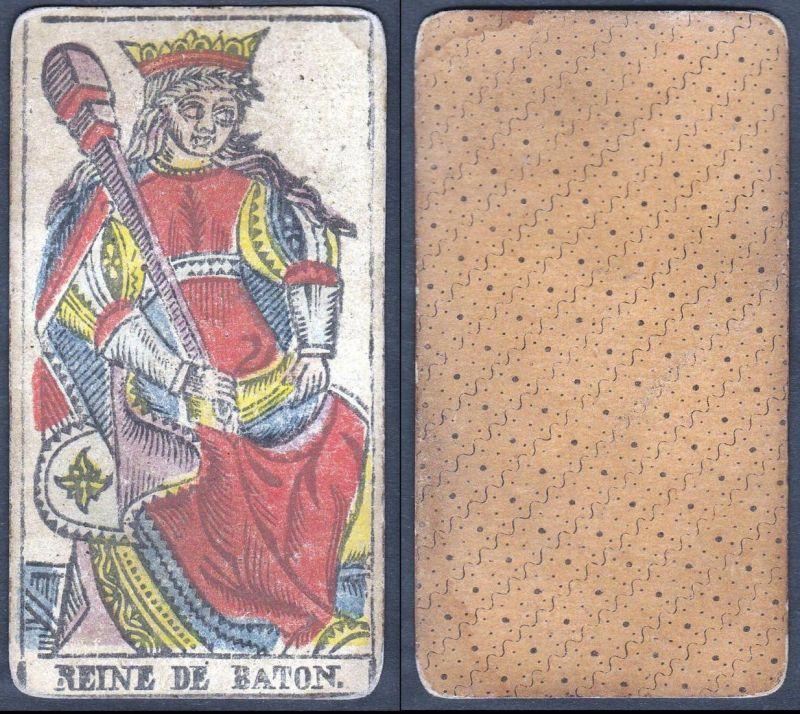 Reine de Baton - Original 18th century playing card / carte a jouer / Spielkarte - Tarot