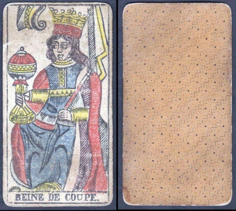 Reine de Coupe - Original 18th century playing card / carte a jouer / Spielkarte - Tarot