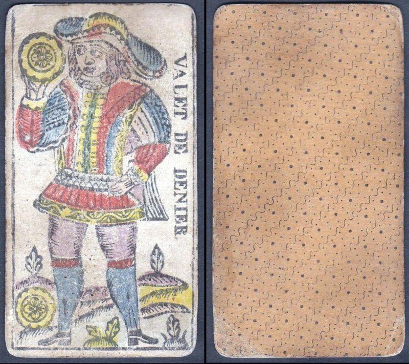 Valat de Denier - Original 18th century playing card / carte a jouer / Spielkarte - Tarot