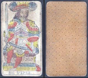 Roi d'Epee - Original 18th century playing card / carte a jouer / Spielkarte - Tarot