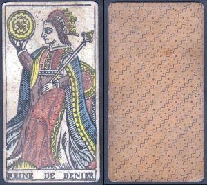 Reine de Denier - Original 18th century playing card / carte a jouer / Spielkarte - Tarot