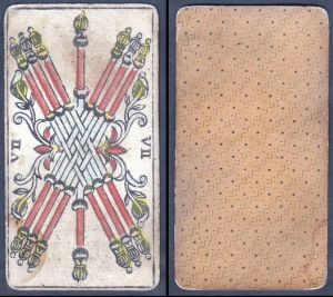 VII - Original 18th century playing card / carte a jouer / Spielkarte - Tarot