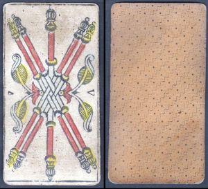 V - Original 18th century playing card / carte a jouer / Spielkarte - Tarot