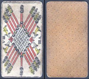 VIIII - Original 18th century playing card / carte a jouer / Spielkarte - Tarot
