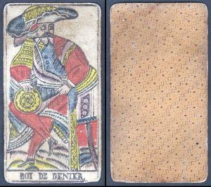 Roi de Denier - Original 18th century playing card / carte a jouer / Spielkarte - Tarot