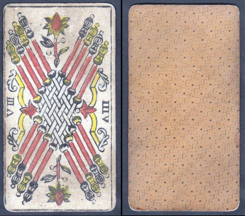 VIII - Original 18th century playing card / carte a jouer / Spielkarte - Tarot