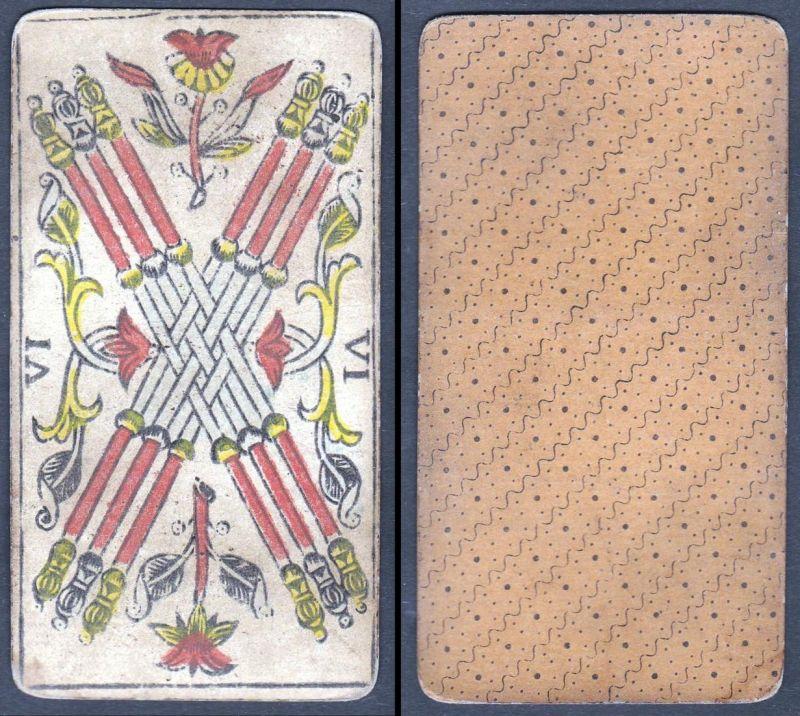 VI - Original 18th century playing card / carte a jouer / Spielkarte - Tarot