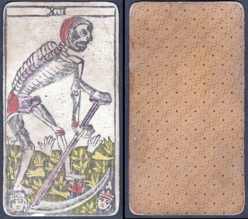 Original 18th century playing card / carte a jouer / Spielkarte - Tarot XIII 0