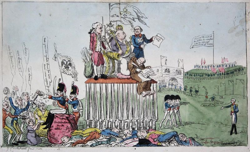 (The Present state of France Exemplified.) - Louis XVIII Soldaten soldiers Napoleon caricature Karikatur carto