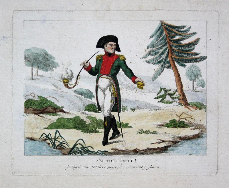 J'ai tout perdu jusqu'à ma dernière prise, et maintenant je fumes - Napoleon smoking fumant St. Helena caricat
