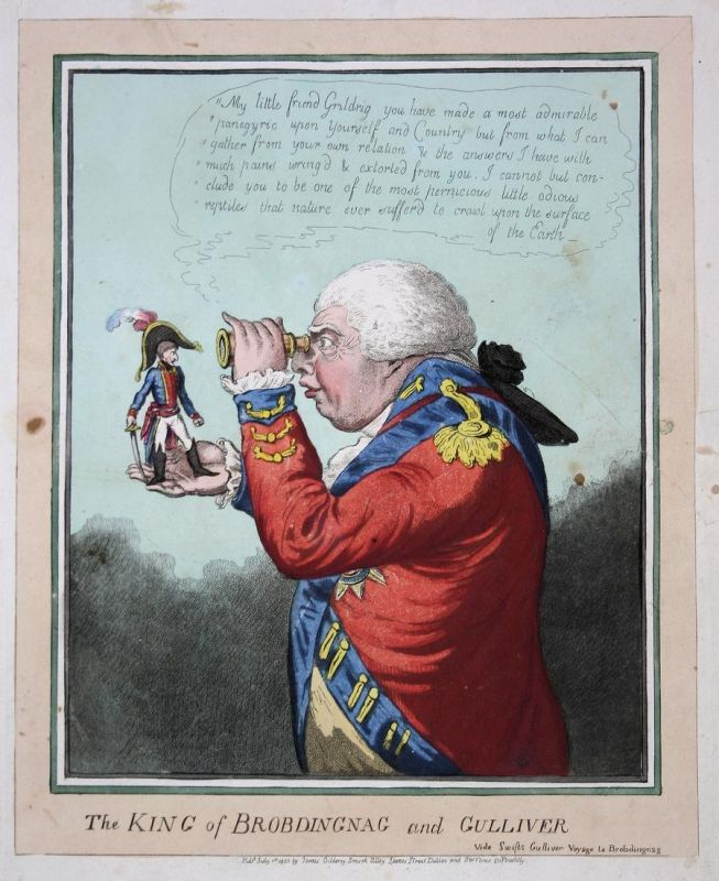 The King of Brobdingnag and Gulliver - Napoleon George III spy-glass Gulliver's travels caricature Karikatur c