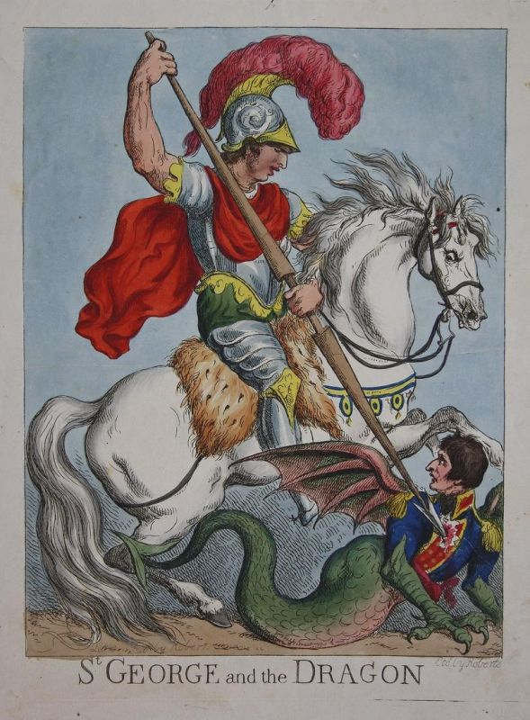St. George and the Dragon - St. George dragon Drachen Napoleon caricature Karikatur cartoon satire etching Rad