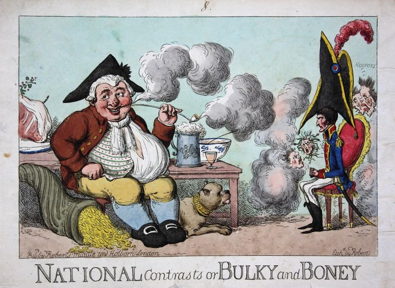 National Contrasts or Bulky and Boney - Napoleon John Bull ghosts spirits Geister caricature Karikatur cartoon