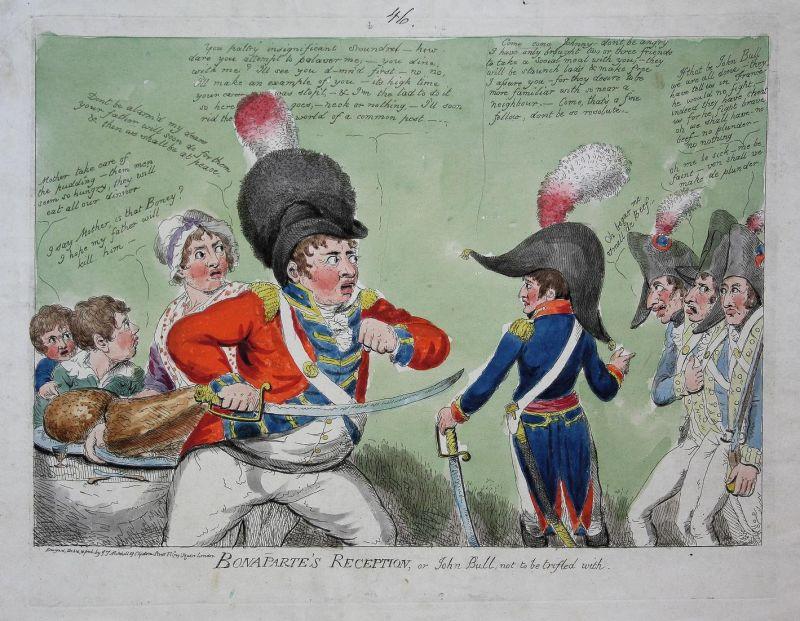 Bonaparte's Reception, or John Bull, not to be trifled with - Napoleon John Bull caricature Karikatur cartoon