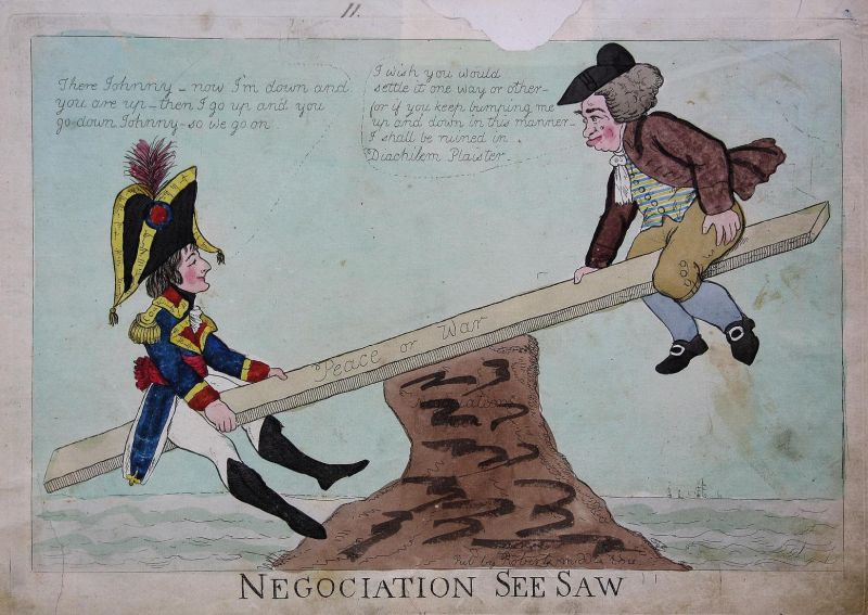 Negociation See Saw. - Napoleon John Bull caricature Karikatur Great Britain UK Großbritannien England Peace o