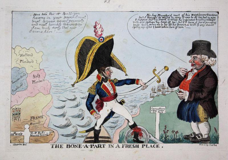 The bone-a-part in a fresh place - John Bull Napoleon caricature Karikatur cartoon satire etching Radierung