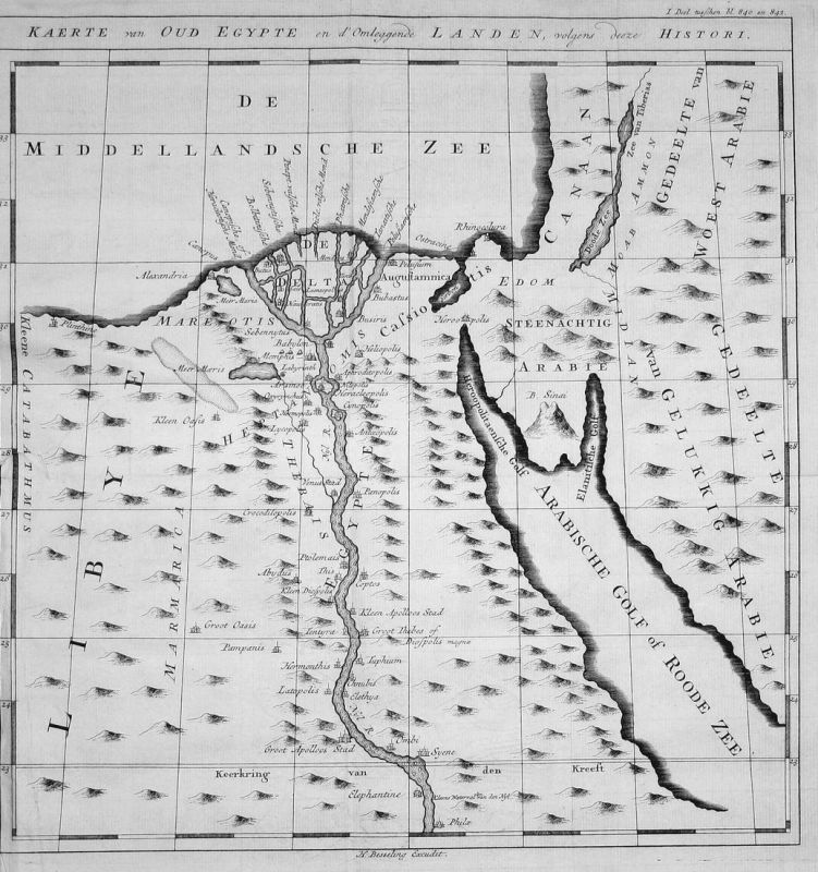 Kaerte van Oud Egypte en d'Omleggende Landen, volgens deeze Histori - Ägypten Egypt Kairo Cairo Karte map Kupf 0