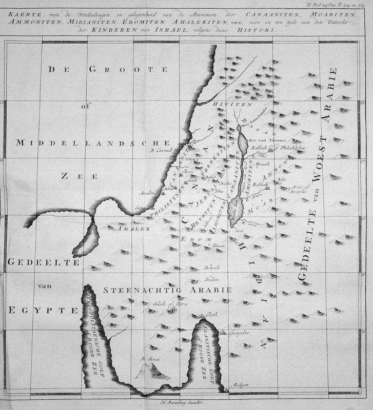 Kaerte van de Verdeelingen en gelegenheid van de Stammen der Canaaniten, Moabiten, Ammoniten, Midianiten, Edom