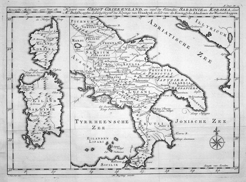 Kaart van Groot Griekenland, en van de Eilanden Sardinie en Korsika - Griechenland Greece Sardinien Sardinia K