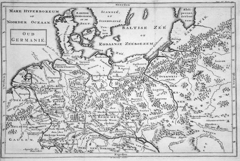 Oud Germanie - Deutschland Germany Norddeutschland Karte map Kupferstich copper engraving antique print 0