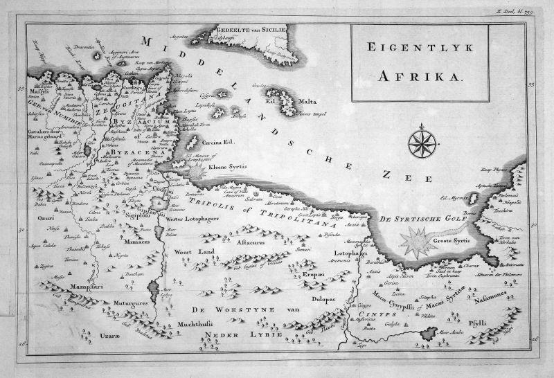 Eigentlyk Afrika - Afrika Nordafrika North Africa Karte map Kupferstich copper engraving antique print 0