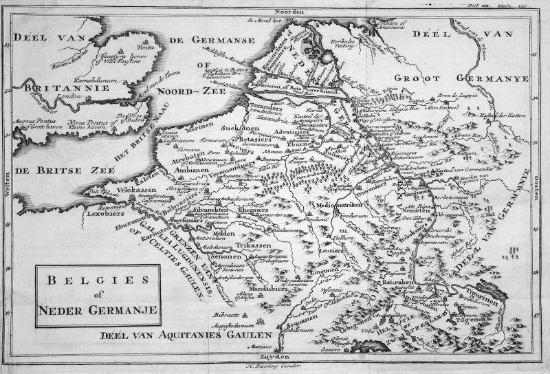 Belgies of Neder Germanje - Niederlande Nederland Belgien Belgique Deutschland Germany Karte map Kupferstich c